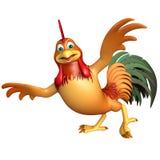 Personnage de dessin animé drôle de poulet d'amusement Photographie stock