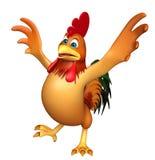 Personnage de dessin animé drôle de poulet d'amusement Photo libre de droits