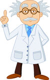 Personnage de dessin animé drôle de scientifique Photo stock