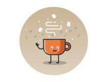 Personnage de dessin animé drôle de tasse de cacao de vecteur Photos libres de droits