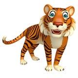 Personnage de dessin animé drôle de tigre Images libres de droits