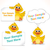 Personnage de dessin animé Duck Showing Blank Banners Photographie stock