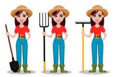 Personnage de dessin animé femelle d'agriculteur, ensemble de trois poses illustration libre de droits