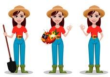 Personnage de dessin animé femelle d'agriculteur, ensemble de trois poses illustration de vecteur