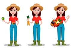 Personnage de dessin animé femelle d'agriculteur, ensemble de trois poses illustration stock
