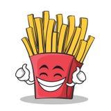 Personnage de dessin animé fier de pommes frites de visage Images stock