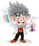 Personnage de dessin animé fou de scientifique Photographie stock