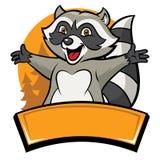 Personnage de dessin animé gai heureux de raton laveur illustration libre de droits