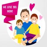 Personnage de dessin animé heureux de fils de père de mère de famille Photo stock