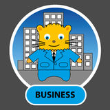 Personnage de dessin animé - homme d'affaires de chat avec des gratte-ciel dans le dos Photo libre de droits