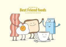 Personnage de dessin animé de lard, oeuf au plat, pain grillé, café, lait Brea Photo stock