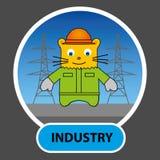 Personnage de dessin animé - le chat dans le casque et combinaisons sur le Ba Image stock