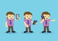 Personnage de dessin animé masculin mignon avec la cravate et la Digital sans fil merci illustration stock