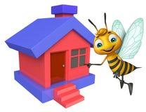personnage de dessin animé mignon d'abeille avec la maison Photo stock