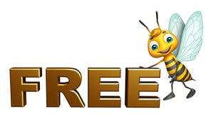 personnage de dessin animé mignon d'abeille avec le signe gratuit Photographie stock libre de droits
