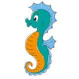 Personnage de dessin animé mignon d'hippocampe Image libre de droits