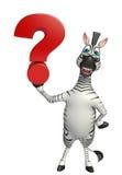 Personnage de dessin animé mignon de zèbre avec le signe de point d'interrogation Photos libres de droits