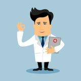 Personnage de dessin animé plat de docteur amical Image libre de droits