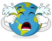 Personnage de dessin animé pleurant triste de la terre Images stock