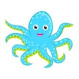Personnage de dessin animé repéré par bleu cyan mignon de vecteur de poulpe de bébé d'isolement sur l'animal blanc d'océan de fon Image libre de droits