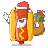 Personnage de dessin animé de Santa With Gift Hot Dog Photos stock
