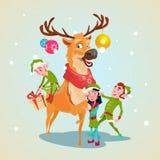 Personnage de dessin animé Santa Helper de renne de groupe d'Elf de Noël Images stock