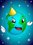 Personnage de dessin animé de sourire heureux d'explorateur de voyage du monde de globe avec des continents Jour de terre heureux illustration libre de droits