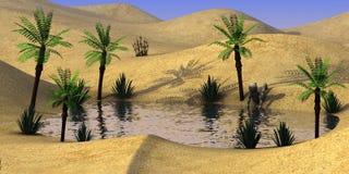 Personnage de dessin animé sur l'eau de boissons d'oasis de désert de sable Photos stock