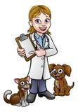 Personnage de dessin animé de vétérinaire tenant le presse-papiers Image libre de droits