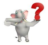 Personnage de dessin animé d'éléphant d'amusement avec le signe de point d'interrogation Photographie stock libre de droits