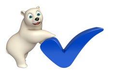Personnage de dessin animé d'ours blanc d'amusement avec le bon signe Photos stock