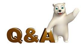 Personnage de dessin animé d'ours blanc d'amusement avec le signe de Q%A Photos stock
