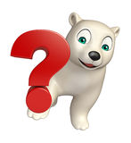 Personnage de dessin animé d'ours blanc d'amusement avec le signe de question Photo stock