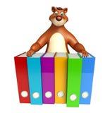 Personnage de dessin animé d'ours d'amusement avec des dossiers Image libre de droits