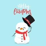 Personnage de dessin animé de bonhomme de neige jouant le combat de boule de neige avec le petit garçon Image stock