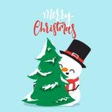Personnage de dessin animé de bonhomme de neige jouant le combat de boule de neige avec le petit garçon Images libres de droits