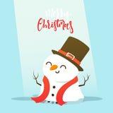Personnage de dessin animé de bonhomme de neige jouant le combat de boule de neige avec le petit garçon Images stock