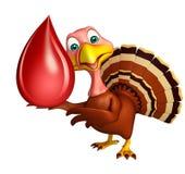 personnage de dessin animé de la Turquie d'amusement avec la baisse de sang Photographie stock