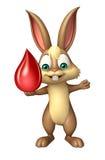 Personnage de dessin animé de lapin d'amusement avec la baisse de sang Photographie stock