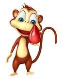 Personnage de dessin animé de singe d'amusement avec la baisse de sang Image stock