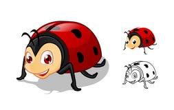 Personnage de dessin animé détaillé de coccinelle avec la conception et la ligne plate Art Black et la version blanche Image libre de droits