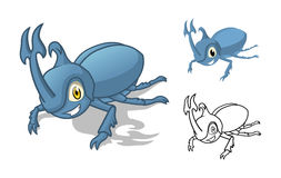 Personnage de dessin animé détaillé de scarabée de rhinocéros avec la conception et la ligne plate Art Black et la version blanch Photos stock