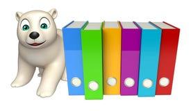 Personnage de dessin animé mignon d'ours blanc avec des dossiers Photographie stock libre de droits