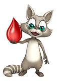 Personnage de dessin animé mignon de raton laveur avec la baisse de sang Image libre de droits