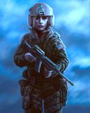 Personnage féminin dans l'uniforme militaire et le pilote de casque avec l'arme Illustration de dessin illustration stock