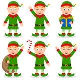 Personnages de dessin animé d'Elf de Noël réglés Images libres de droits