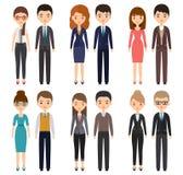 Personnages de dessin animé dans des vêtements d'affaires Illustration de vecteur photo libre de droits