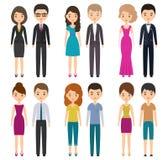 Personnages de dessin animé dans différents vêtements Illustration de vecteur Photo libre de droits
