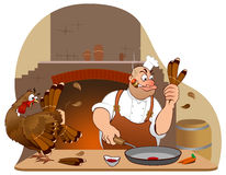 Personnages de dessin animé de dinde et de chef de thanksgiving Photos stock