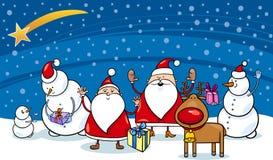 Personnages de dessin animé de Noël Photo stock